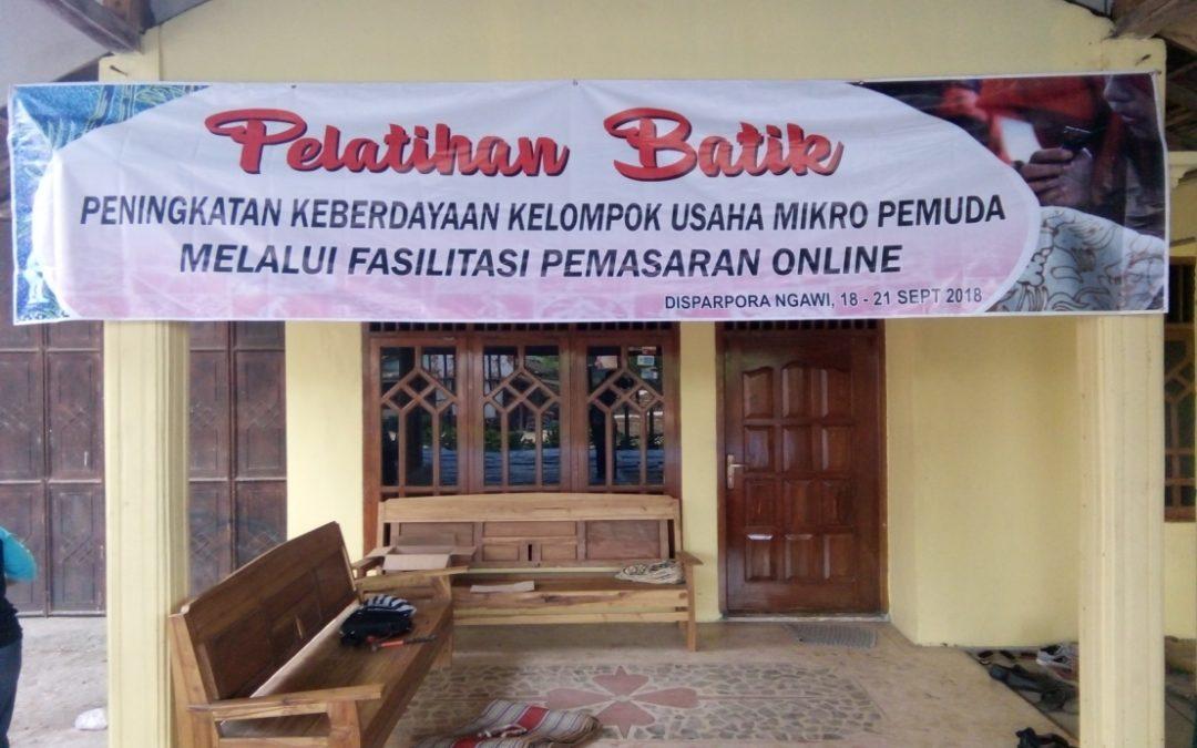 Pelatihan Dan Pemasaran Batik Mikro Pemuda  Dengan Fasilitasi Pemasaran Online Oleh :  Eko Sugiarto, S.Sos. SE. M.Si   (Peserta Diklatpim IV Angakatan 204 di Kab Ngawi)