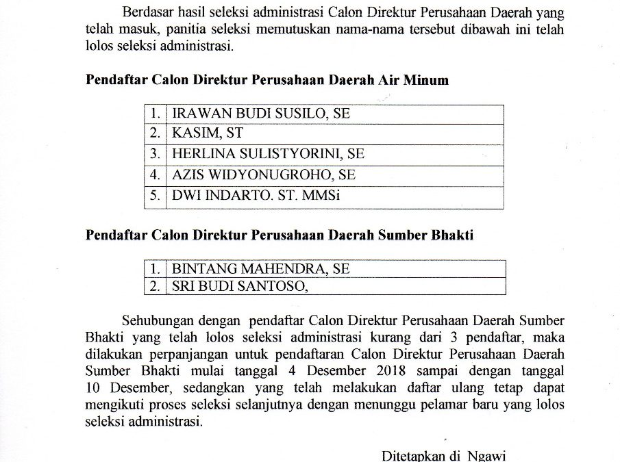 Pengumuman Hasil Seleksi Administrasi Calon Direktur Perusahaan Daerah Kabupaten Ngawi Masa Jabatan 2018 – 2022