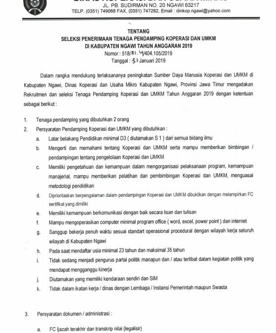Pengumuman Seleksi Penerimaan Tenaga Pendamping Koperasi dan UMKM di Kabupaten Ngawi Tahun Anggaran 2019